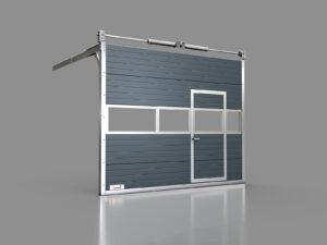 Przemysłowa brama segmentowa z drzwiami i pełnymi oknami