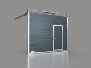 Brama z pięciu segmentów oraz drzwiami z boku