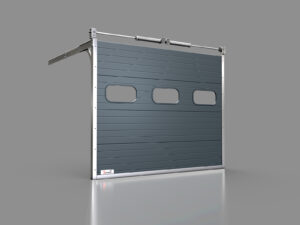 Cztero-segmentowa brama pionowa z oknami owalnymi
