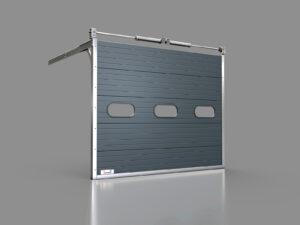 Pięcio-elementowa brama przemysłowa z owalnymi oknami